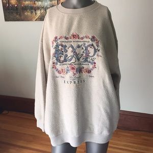 Express Tops - 90's Vintage Express Floral Embroidered Sweatshirt